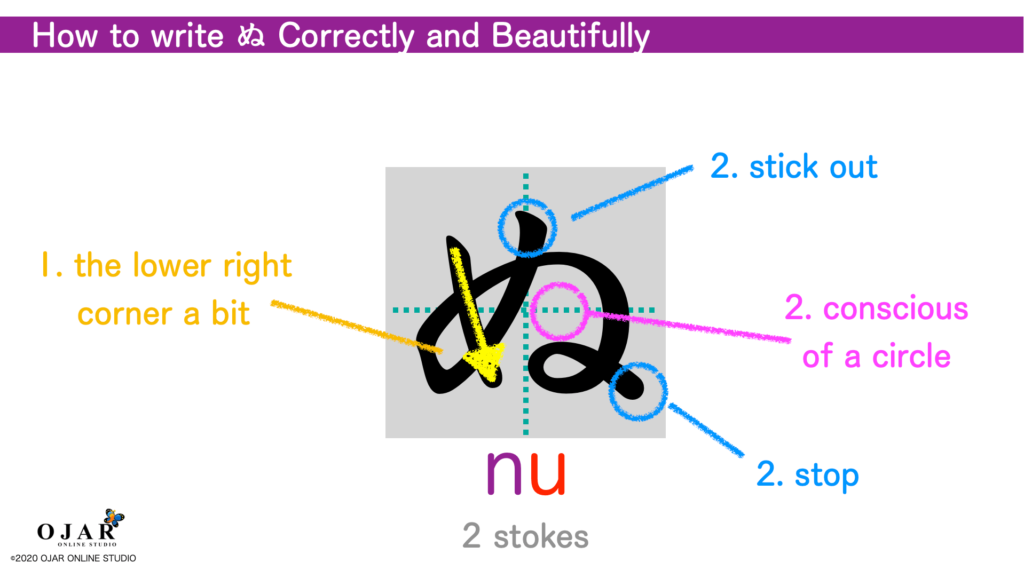 how to write nu correctly and beautifully