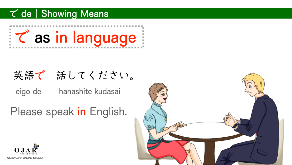 showing means in language particle de