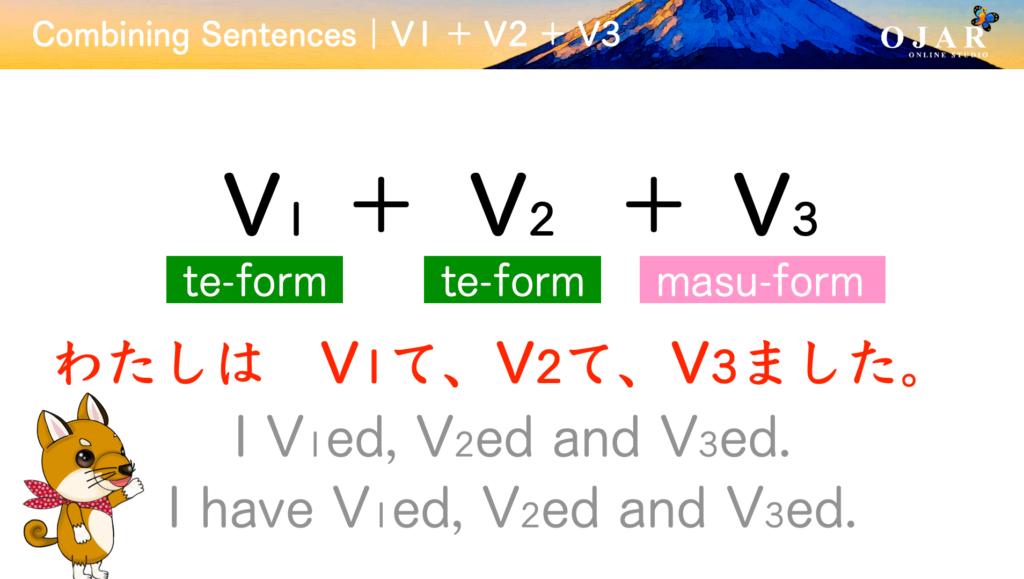 combining sentences v1 + v2 + v3 the past tense