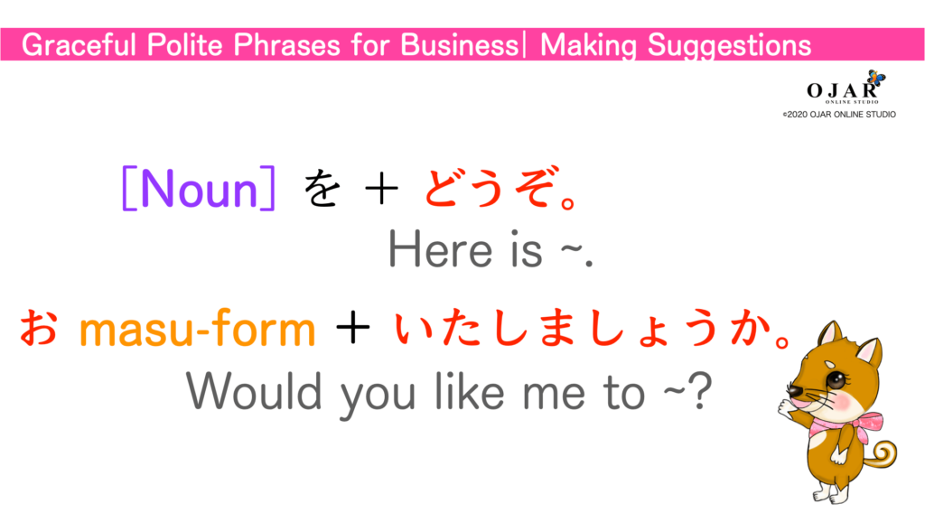 graceful polite phrases for businees making suggestions