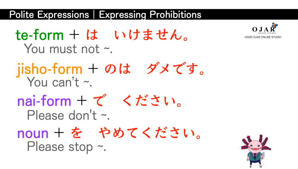 polite expressions expressing prohibitions