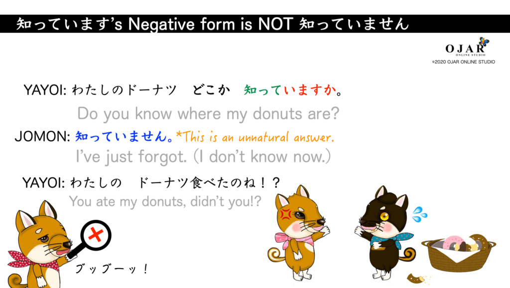 shitteimasu's negative form is not shitteimasen 1