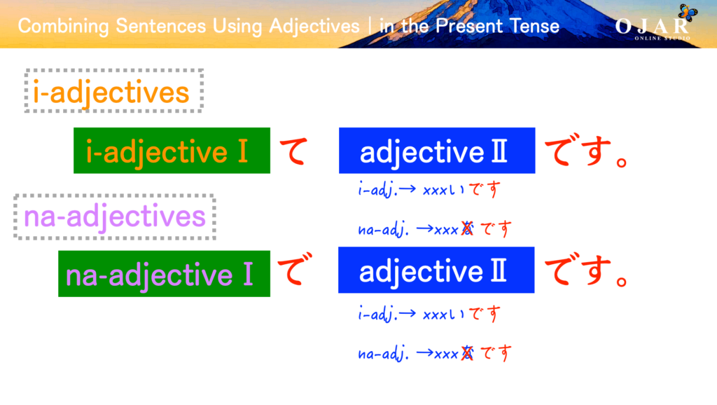 combining sentences using adjectives in the present tense
