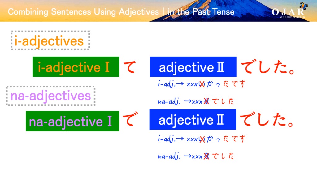 combining sentensese using adjectives in the past tense