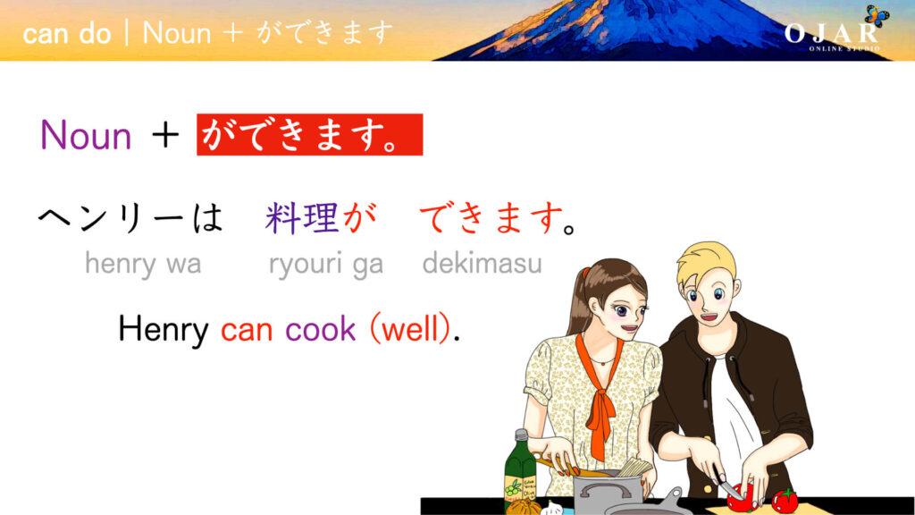 Japanese can do noun ga dekimasu