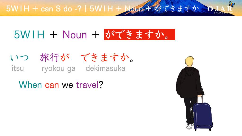 Japanese can S do noun ga dekimasuka 5w1h